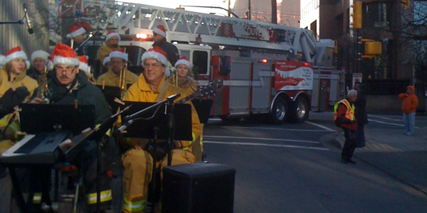 Vancouver Fire and Rescue Services Band and Ladder Truck at the start of the 2009 Santa Claus Parade