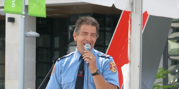 Vancouver Fire and Rescue Services Lieutenant Dan belts out a Frank Sinatra tune at an official City of Vancouver event, Spring 2010.